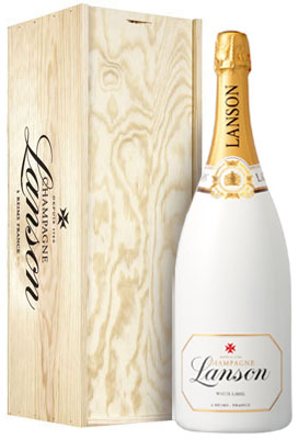 Lanson White Label NV Magnum (1.5 ltr) in Wood Box