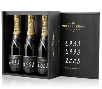 Moet & Chandon Grand Vintage Trilogy (1988, 1998, 2008) 3 x 75cl