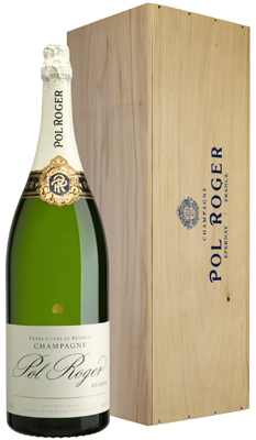 Pol Roger Brut Reserve NV Jeroboam (3 ltr) in Wood Box