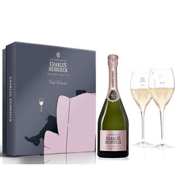 Charles Heidsieck Rose Reserve NV 75cl - Armchair Glass Pack